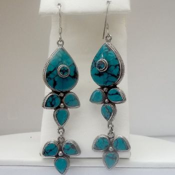 Exquisite traditional Indian Turquoise 'Petals Dangly' Earrings